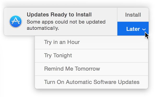 Varslinger forteller deg når oppdateringer er klare til å installeres.