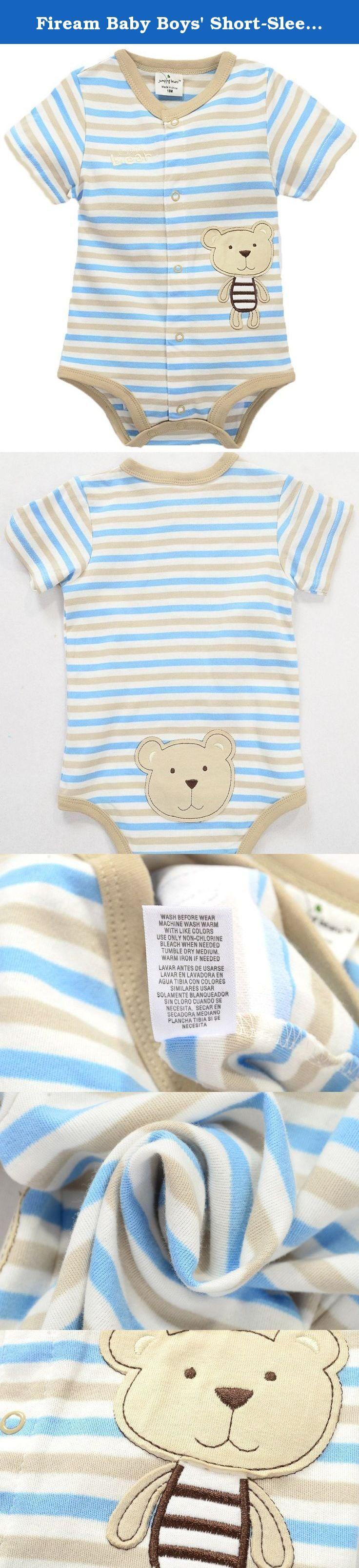 "Fiream Baby Boys' Short-Sleeved Stripe Cotton Bodysuit(9802TZ,9M). Size Chart: 6M:Length:14"",Bust:17"",Shoulder:7"" 9M:Length:15"",Bust:19"",Shoulder:7"" 12M:Length:16"",Bust:20"",Shoulder:8"" 18M:Length:17"",Bust:21"",Shoulder:8"" 24M:Length:17"",Bust:22"",Shoulder:9"" Due to manual measurement,please allow 0.5inch-1inch/1-3cm error."