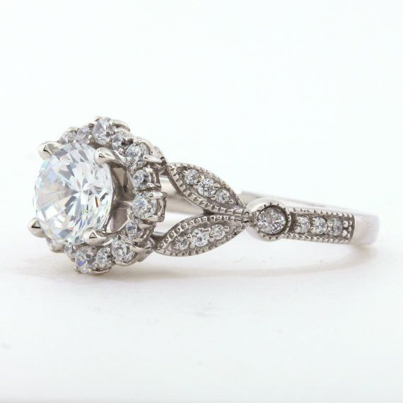 Vintage Floral Style Halo Engagement Ring - Lilly – Moissanite Rings