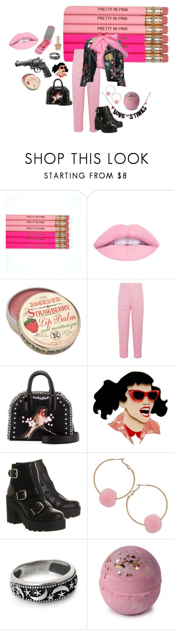 """pink n black"" by peachplanets ❤ liked on Polyvore featuring Smith & Wesson, claire's, Gucci, STELLA McCARTNEY, Erstwilder, Office, Humble Chic, NOVICA and Paul & Joe"