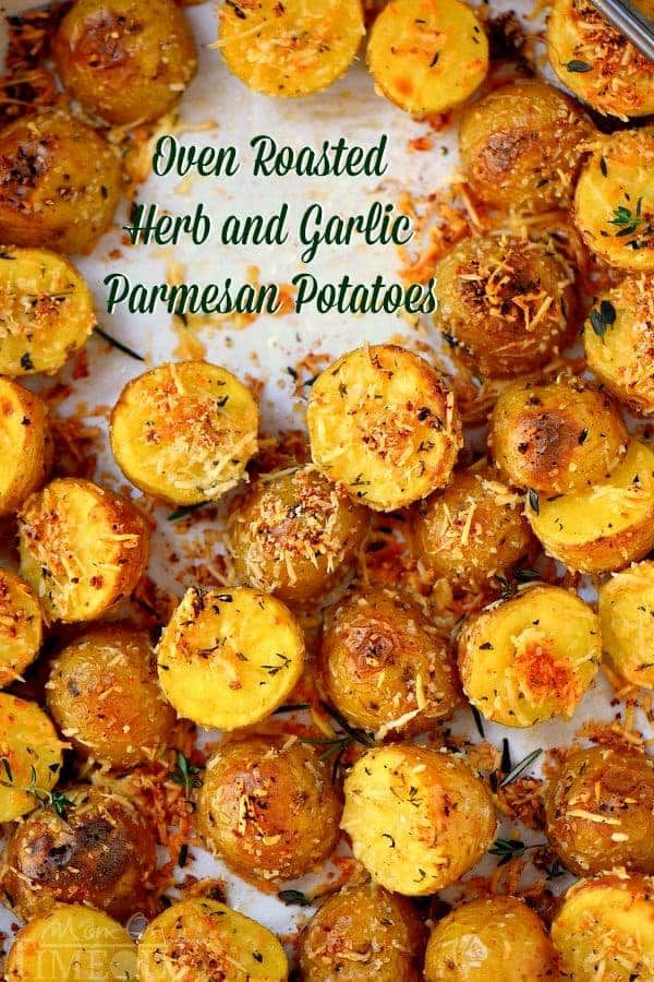 These easy Oven Roasted Herb and Garlic Parmesan Potatoes are the perfect side dish to whatever you're making for dinner tonight!