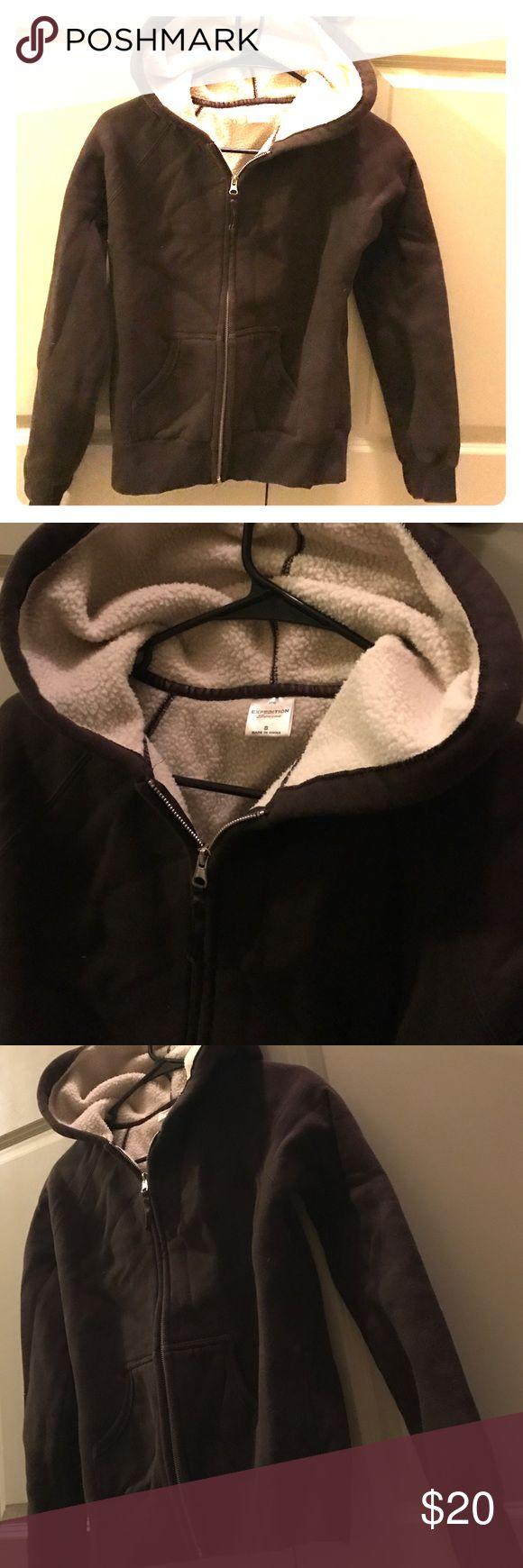 "Brown fleece zip up hoodie Never been worn. Brown zip up hoodie. Back is embroidered with words  ""German shorthair pointer"" Tops Sweatshirts & Hoodies"