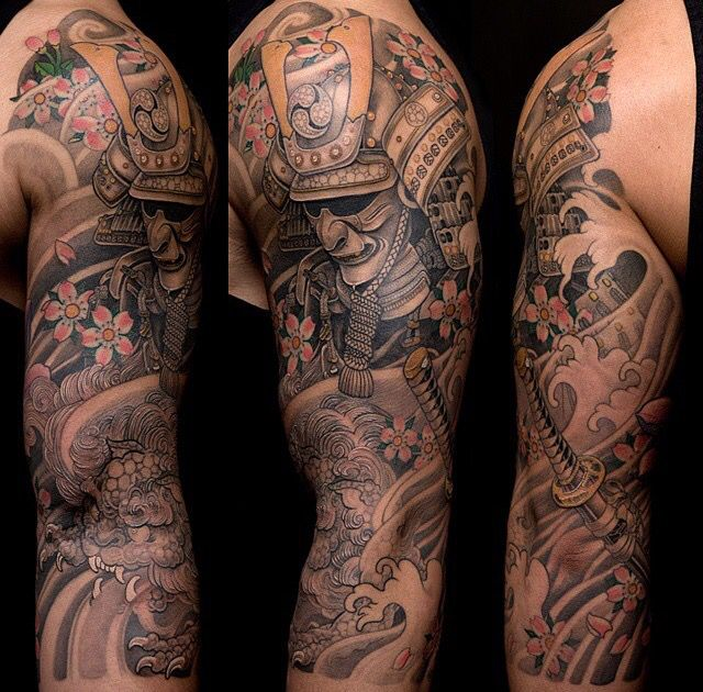 Japanese Wind Tattoo: Samurai. Protected By Foo Dog. Surrounded By Wind, Water