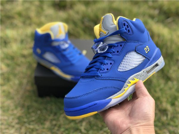 pretty nice f7ff1 e0282 2019 New Air Jordan 5 Retro GS Blue Yellow Girls Shoes in 2019   Air Jordan  5 Retro Sneakers   Air jordan 5 retro, Girls shoes, Air jordans