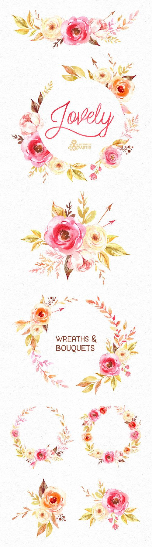 Lovely Flowers. Wreaths and Bouquets. Watercolor от OctopusArtis
