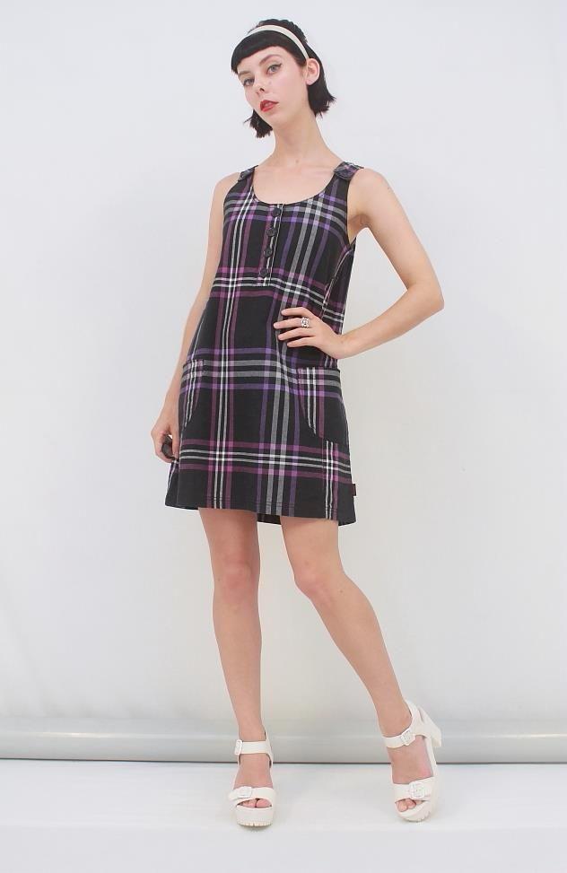 EMILY THE STRANGE Purple Black White Tartan Check PINAFORE Mini Dress AUS 10 S