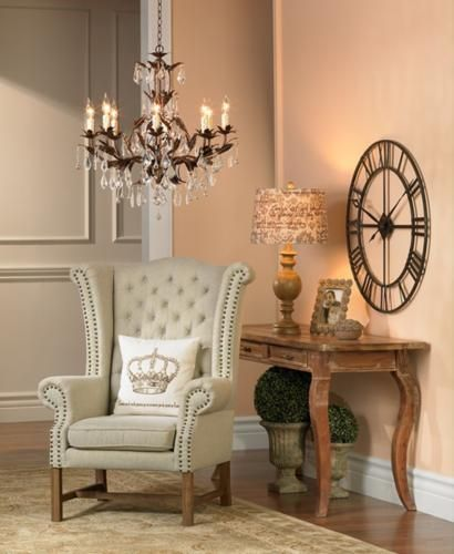 French country decorating is a stylish touch in a traditional living room.