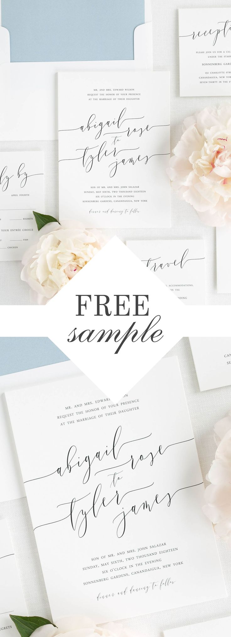Brand your wedding from start to finish with our gorgeous Romantic Calligraphy suite. Request a free sample kit and experience our quality and luxurious paper options in person.