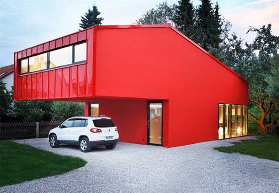 House with red exterior