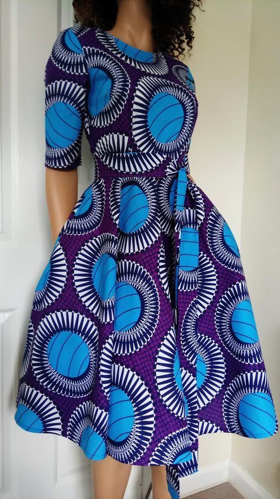 /'Twilight/' African Printed Fabric Dress 100/% Wax Cotton Handmade UK