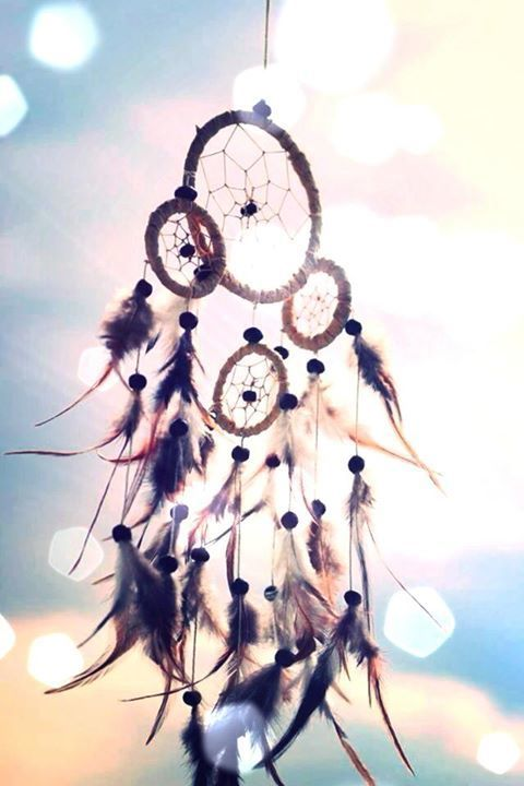 a small hoop containing a horsehair mesh, or a similar construction of string or yarn, decorated with feathers and beads, believed to give its owner good dreams. Dreamcatchers were originally made by American Indians.