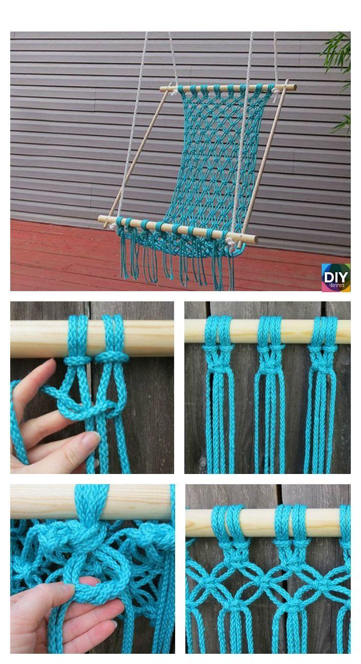 DIY Hanging Macrame Chair Tutorials #diy #homedecor #hangingchair /