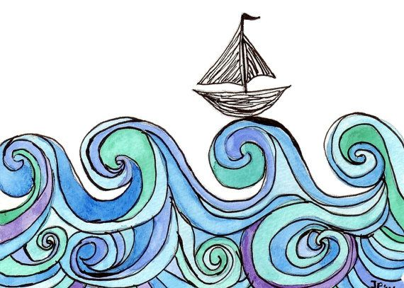 Sailboat on Waves Watercolor Painting - Stained Glass Blue and Green Ocean Art with Boat Silhouette, 5x7 Print