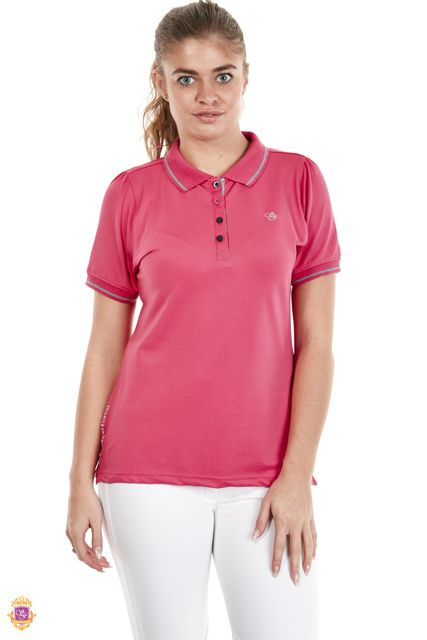 Sherwood Forest Attingham SF-LE-2934 Deep Coral Polyester/Spandex 4 button front & SF embroidery