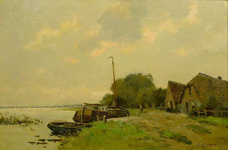 Jacob Lucas Jongsma (1893-1926) Titel: Riviergezicht met boot - Artiquair