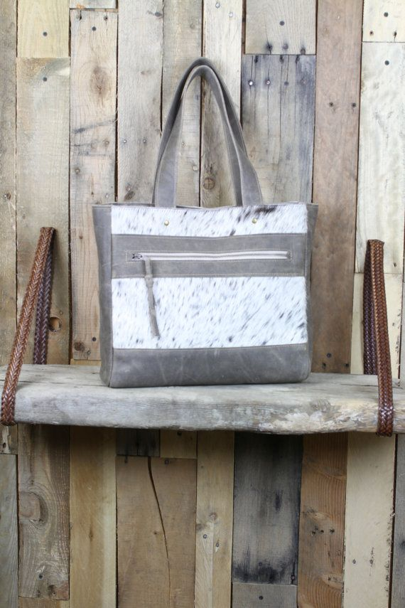 Classic Leather Tote Grey Leather Bag Leather Tote Bag by 14xbags