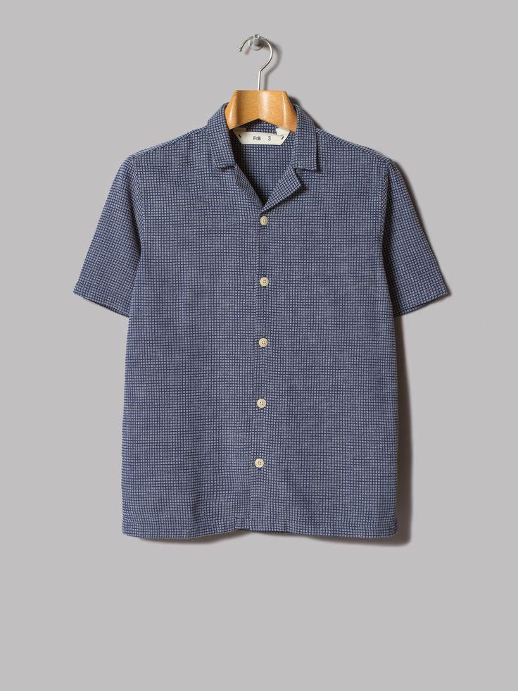 Folk Rab Short Sleeve Shirt (Blue Box Stitch)