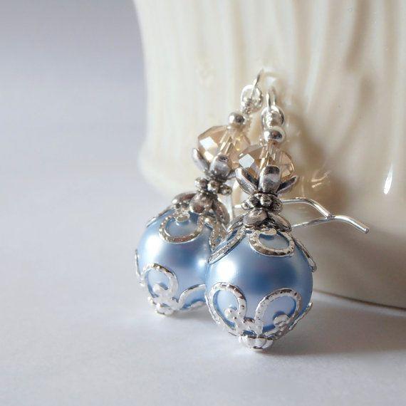 Light Blue Pearl Earrings Light Blue Bridesmaid by FiveLittleGems