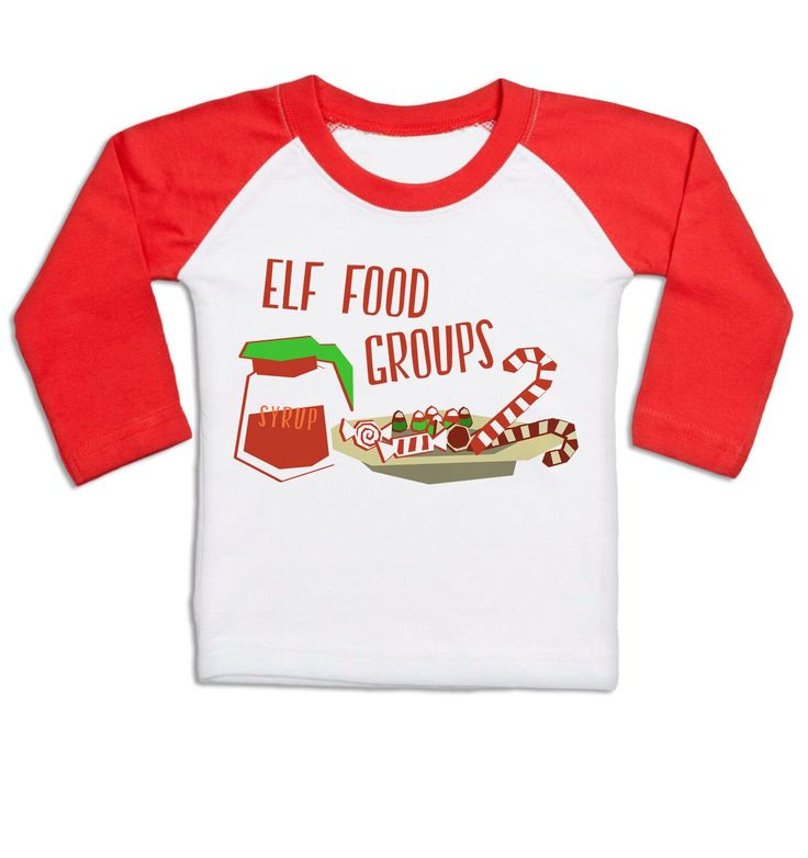 Elf Food Groups long sleeve baby baseball t-shirt by BigMouthUK on Etsy https://www.etsy.com/listing/254342933/elf-food-groups-long-sleeve-baby