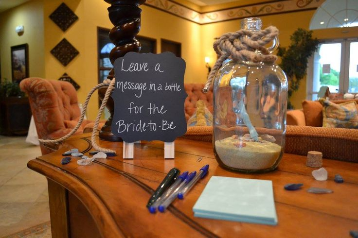 Message in a bottle for the bride! Cute way of giving the bride advice for a beach themed bridal shower. #Beach #Bridal #Shower #Nautical #MessageInABottle #Advice #Wedding