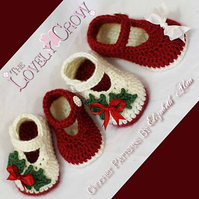 TheLovelyCrow: Crochet baby booties pattern for Christmas!! I have Mary Jane patterns but I love these color combinations!