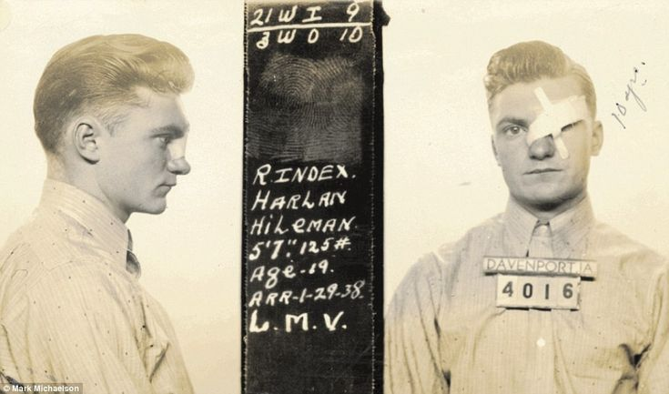 A young man with an eye patch is pictured in a mugshot from Davenport, Iowa,  in 1938...