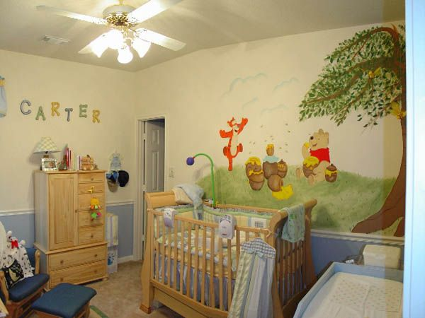 Baby Nursery. Mesmerizing Baby Room Design Ideas: Agreeable Small Babies Room Decor Design With Vintage Lamp And Winnie The Pooh Wallpaper Ideas ~ wegli
