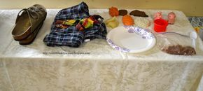 Relay race for prodigal son story. Each kid does something different @ the table. Feed pigs, put on robe, put on ring and so on. Bible Fun For Kids: Parables of Jesus VBS: Day 2 The Prodigal Son