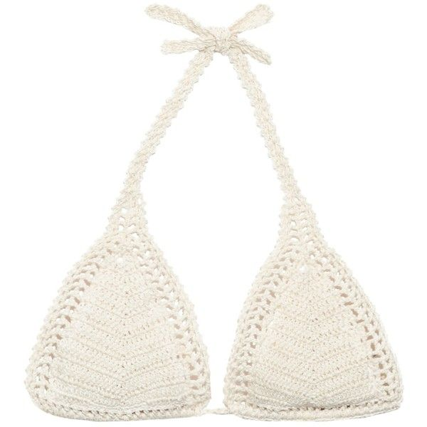 She Made Me Essential Sliding crochet triangle bikini top ($99) ❤ liked on Polyvore featuring swimwear, bikinis, bikini tops, bikini, swim, cream, triangle bikini swimwear, triangle bikini top, triangle bikini and tankini swim tops