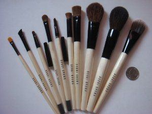 Bobbi Brown 10pc Brush Set by Bobbi Brown. $73.00. Bobbi Brown 10pc Brushes. Full Size Brush. 100% Natural Animal hair. With One Black Case. 1. EYE LINER  2. EYE BROW  3. LIP  4. EYE SHADOW  5. CONCEALER  6. EYE CONTOUR  7. EYE SHADER  8. BLUSH  9. POWER  10. FOUNDATION  *11. ONE CASE   All brushes in my store are 100% orginal and authentic from BOBBI BROWN.  They are brand new one, never used or tested.  Made in CHINA.