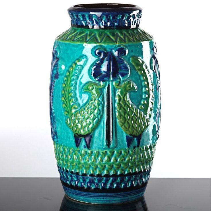 BAY KERAMIK Vase blau türkis 960-25 Bodo Mans 25 cm hohe Blumenvase Vögel Relief