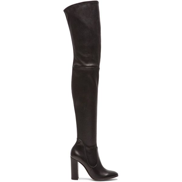 Gianvito Rossi Leather Thigh High Boots (£1,655) ❤ liked on Polyvore featuring shoes, boots, over-the-knee boots, leather boots, over knee boots, thigh high leather boots, over the knee high heel boots and black boots