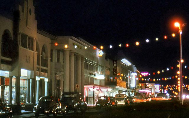 Christmas light in the high street, Worcester, South Africa, 1961, photograph by Etienne du Plessis.