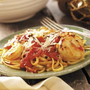 """Taste of Home-Seafood Medley with Linguine Recipe- """"Who can resist a savory blend of seafood and pasta? This dish, teaming scallops and shrimp with linguine and tomatoes, is nutritious and rich in flavor."""" —Charlene Chambers, Ormond Beach, Florida"""