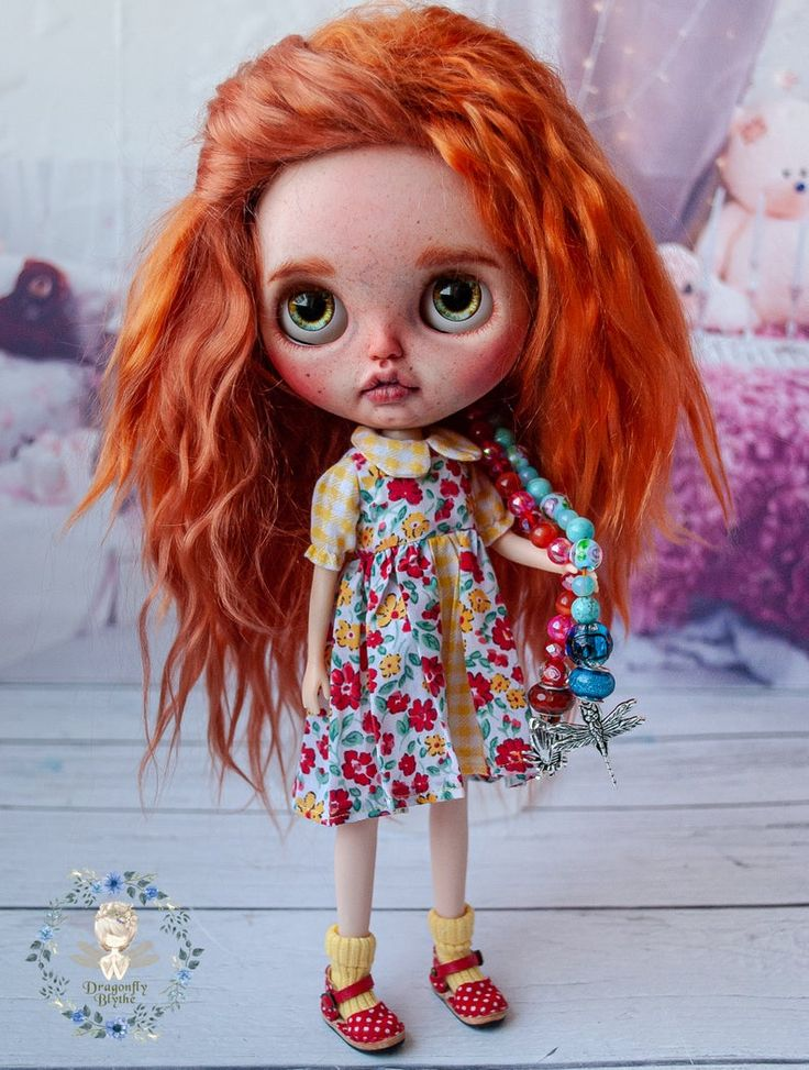 Custom OOAK baby Blythe doll with natural reddish mohair wefts hair, shiny eyes and teeth- Kary. Factory TBL based Blythe