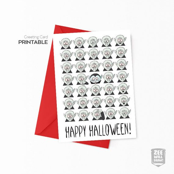 Printable Valentines card Vampire Printable by zeewilldraw on Etsy