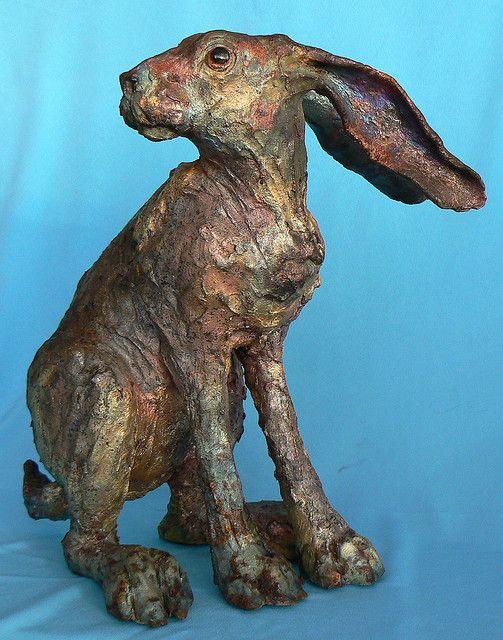 brown hare - raku sculpture by Lesley D McKenzie, via Flickr
