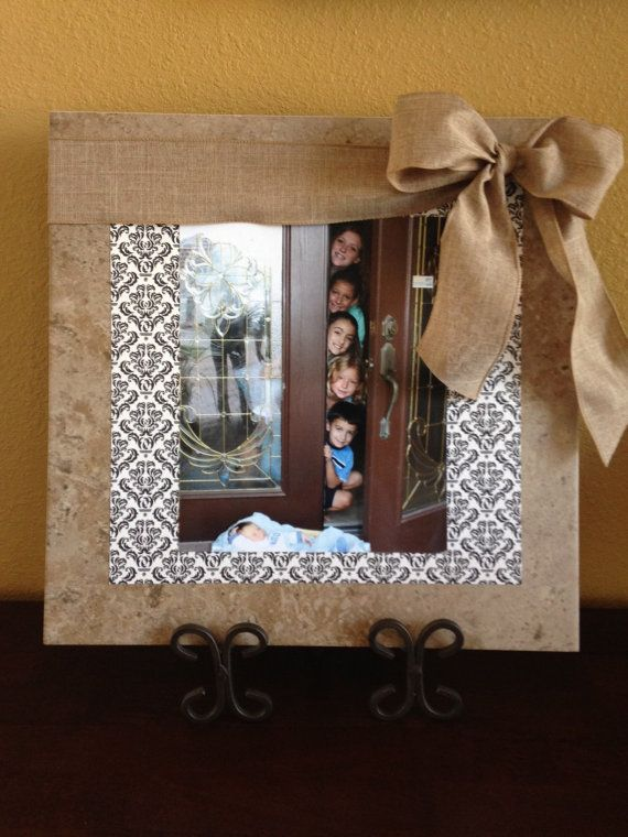 Ceramic Tile Picture Frame with handmade bow on Etsy, $24.00