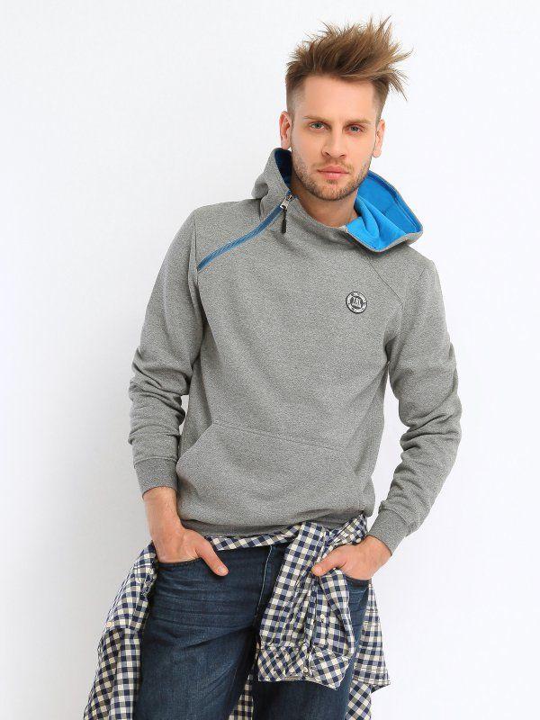 bluza nierozpinana męska z zamkiem szara - TBL0489 TROLL