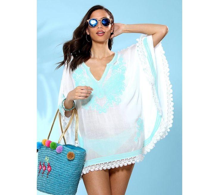 Pončo blúzka s farebnou výšivkou a lemovky   modino.sk #ModinoSK #modino_sk #modino_style #style #fashion #summer