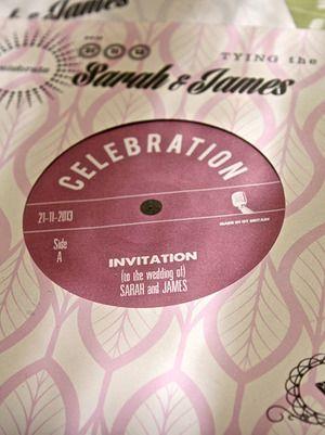 """Personalised 7"""" record sleeve invitations"""