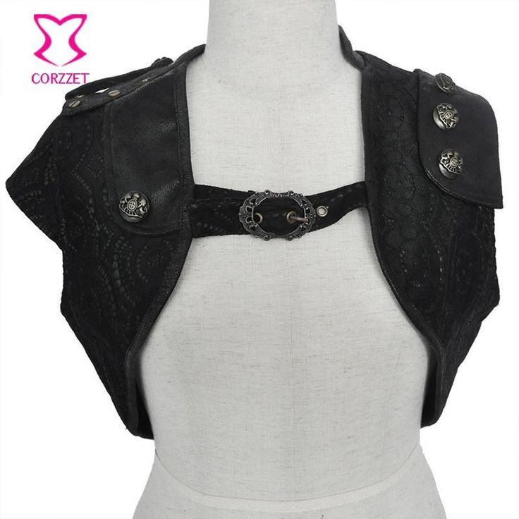 ICYMI: Black PU Leather With Floral Lace Sleeveless Short Sexy Corset Bolero Steampunk