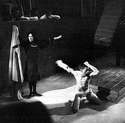 The play that made director Grotowski famous: Le Prince Constant (The Constant Prince), adapted from Calderón de la Barca, 1966. Notice the precise bodywork and the spectators positioned to observe the action from above, as though looking into an enclosure.