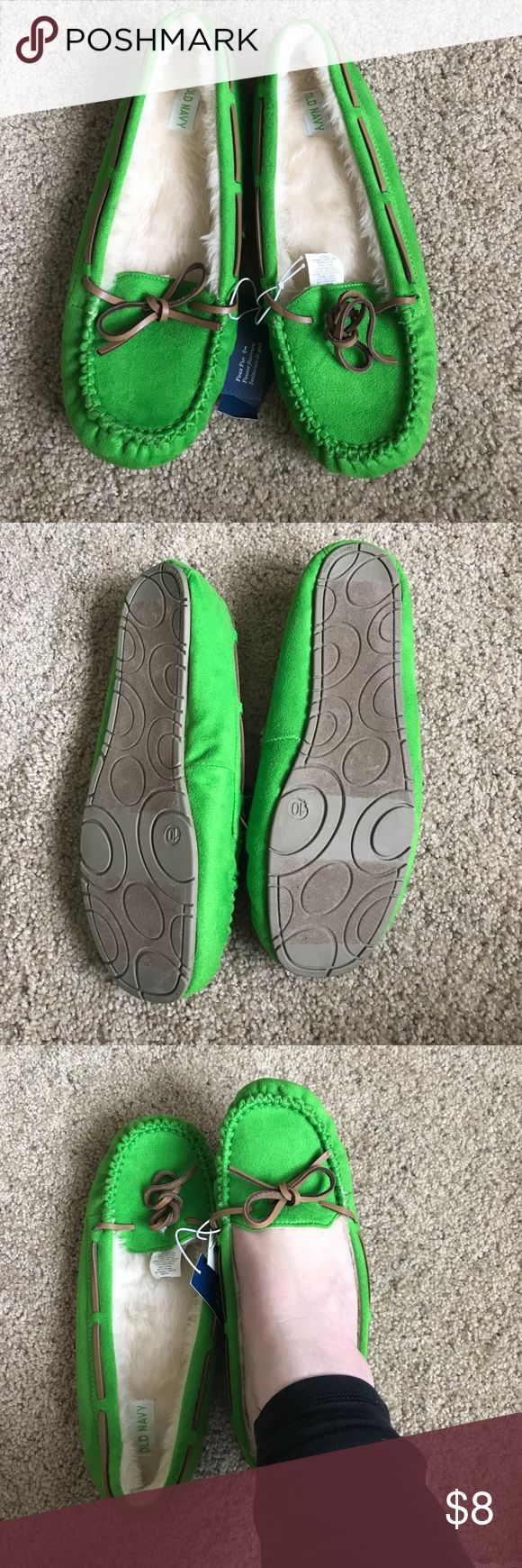 Green Slippers I've had these for a long while and have never used them. In excellent shape. allergy alert* I have two cats and am a smoker. Old Navy Shoes Slippers