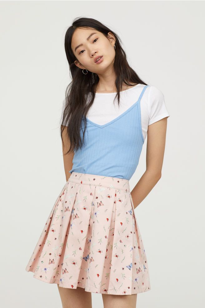 Pleated skirt - Powder pink Insects -  a7e2356df