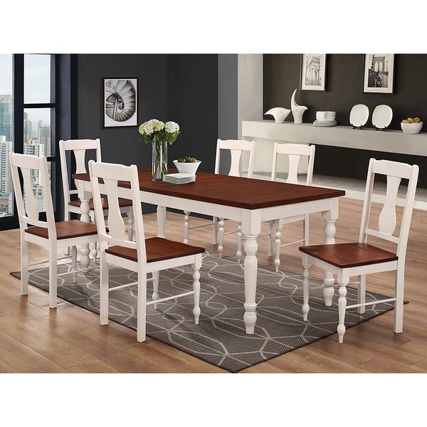 7-Piece Two Toned Solid Wood Dining Set - Brown/White