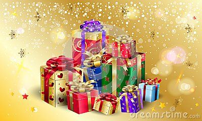 Gift Boxes, presents for Christmas and New Year Winter Holiday, celebrate, beautiful gift boxes with satin ribbon on gold magic, bokeh lights, sparkles snowflakes, festive background, presents group, advertising design template