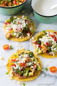 The Best Roasted Vegetable Tostadas Recipe on ASpicyPerspective.com #mexican #vegetarian #healthy