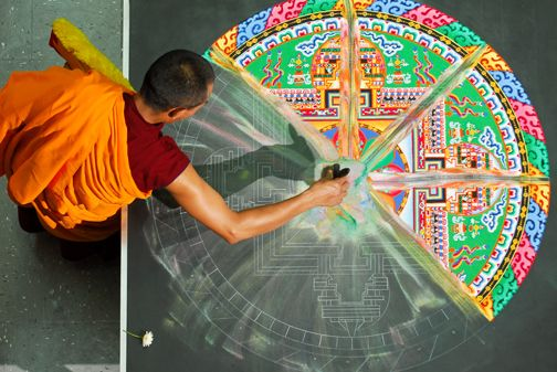 Tibetan Monk Sand Mandalas.  Sweeping away the Mandela is an integral part of the process, bringing to the mind the impermanence of life.