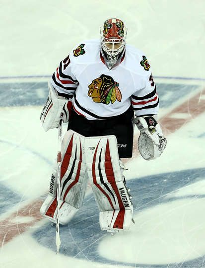 NEW YORK, NY - DECEMBER 13: Lars Johansson #31 of the Chicago Blackhawks warms up prior to the gamae against the New York Rangers on December 13, 2016 at Madison Square Garden in New York City. (Photo by Elsa/Getty Images)